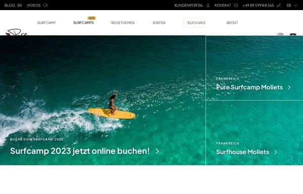 Vorschau von www.puresurfcamps.com, PURESURFCAMPS GmbH