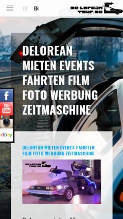 Vorschau der mobilen Webseite deloreantour.de, Deloreantour.de