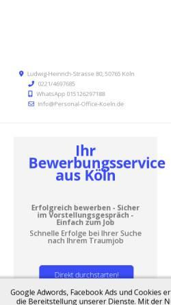 Vorschau der mobilen Webseite www.personal-office-koeln.de, Personal Office Köln