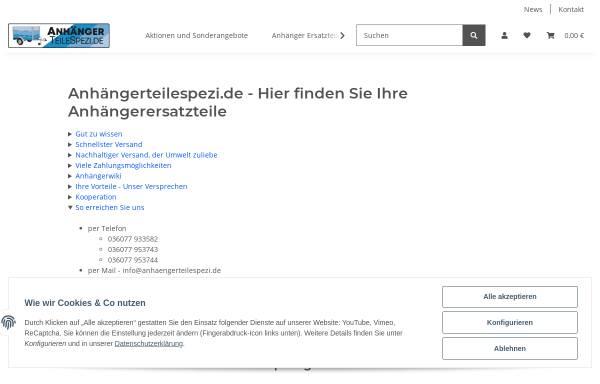 Vorschau von anhaengerteilespezi.de, Anhängerteilespezi