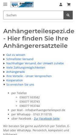 Vorschau der mobilen Webseite anhaengerteilespezi.de, Anhängerteilespezi