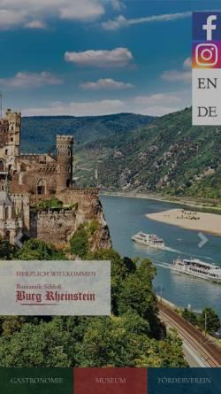 Vorschau der mobilen Webseite www.burg-rheinstein.de, Schloss Burg Rheinstein