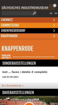 Vorschau der mobilen Webseite www.energiefabrik-knappenrode.de, Energiefabrik Knappenrode