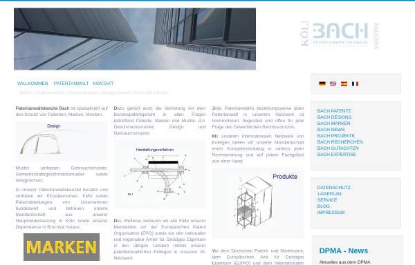 Vorschau von www.koeln-patentanwalt.de, BACH | PATENTE MARKEN DESIGNS