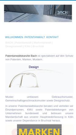 Vorschau der mobilen Webseite www.koeln-patentanwalt.de, BACH | PATENTE MARKEN DESIGNS