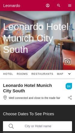 Vorschau der mobilen Webseite www.leonardo-hotels.com, Leonardo Hotel Munich City South