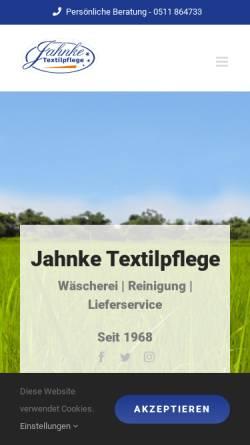 Vorschau der mobilen Webseite jahnke-textilpflege.de, Wäscherei Jahnke GmbH