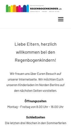 Vorschau der mobilen Webseite www.regenbogenkinder-berlin.de, EKT - Regenbogenkinder e.V.