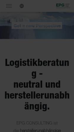 Vorschau der mobilen Webseite www.epg.com, Ehrhardt + Partner Consulting GmbH