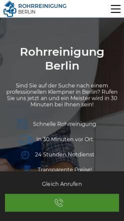 Vorschau der mobilen Webseite expressrohrreinigung-berlin.de, Rohr Klinik