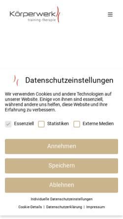 Vorschau der mobilen Webseite www.koerperwerk.com, Körperwerk
