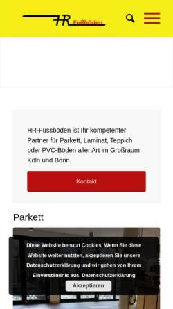 Vorschau der mobilen Webseite hr-fussboeden.de, Heinz Rodert Fuß- und Parkettböden