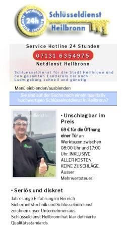Vorschau der mobilen Webseite schluesseldienst-heilbronn-24.de, Schlüsseldienst Blum Heilbronn