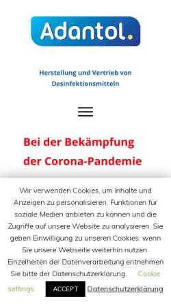 Vorschau der mobilen Webseite www.adantol.de, Arkom Chemicals GmbH