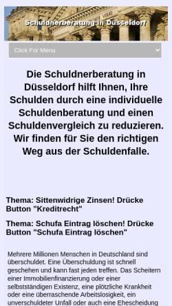 Vorschau der mobilen Webseite www.schuldnerberatung-duesseldorf.net, Schuldnerberatung in Kanzlei Lukas