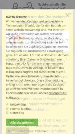 """Vorschau der mobilen Webseite www.marten-aktiv.de, Nachbarschaftshilfe """"Marten aktiv"""""""