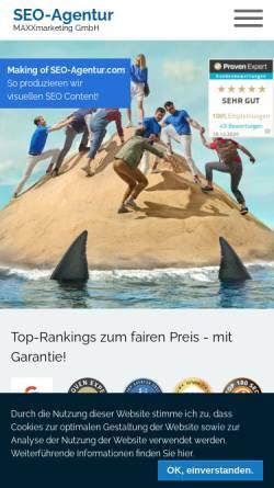 Vorschau der mobilen Webseite www.seo-agentur.com, SEO Agentur - MAXXmarketing GmbH