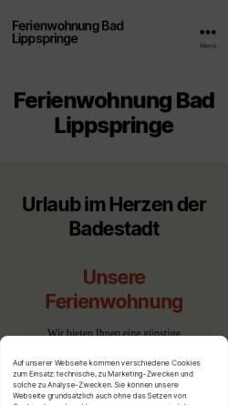 Vorschau der mobilen Webseite ferienwohnung-bad-lippspringe.de, Ferienwohnung Bad Lippspringe