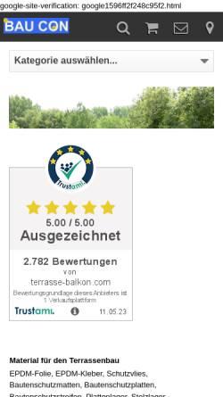 Vorschau der mobilen Webseite www.terrasse-balkon.com, Bau-Consult Höppner