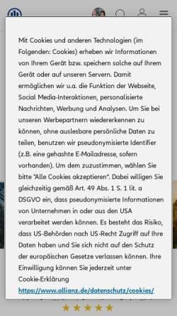 Vorschau der mobilen Webseite vertretung.allianz.de, Allianz Versicherung Spiegel und Spiegel GbR