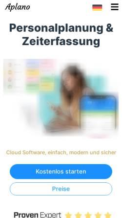 Vorschau der mobilen Webseite www.aplano.de, Aplano GmbH