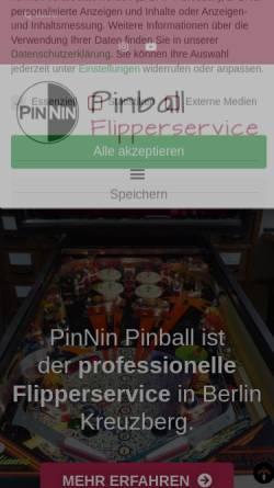 Vorschau der mobilen Webseite pinnin.de, PinNin Pinball / Flipper- und HiFi-Service