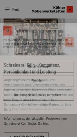 Vorschau der mobilen Webseite www.schreinereiköln.de, Kölner Möbelwerkstätten GmbH & Co. KG