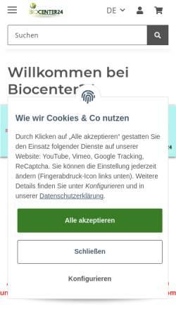 Vorschau der mobilen Webseite www.biocenter24.com, Biocenter24