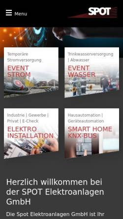 Vorschau der mobilen Webseite spot-dresden.de, SPOT Elektroanlagen GmbH