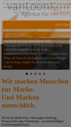 Vorschau der mobilen Webseite vanloon-kommunikation.de, van Loon Kommunikation GmbH Agentur für Werbung und Öffentlichkeitsarbeit