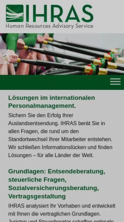 Vorschau der mobilen Webseite ihras.eu, IHRAS GmbH