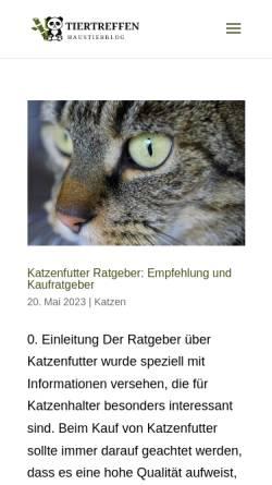 Vorschau der mobilen Webseite tiertreffen.de, Tiertreffen