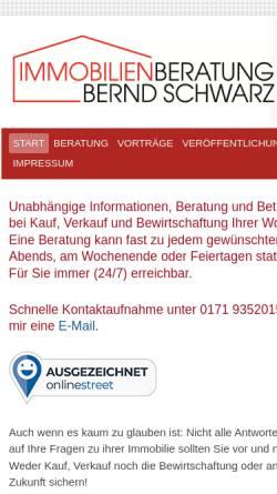 Vorschau der mobilen Webseite schwarz-beratung.de, Immobilienberatung Bernd Schwarz