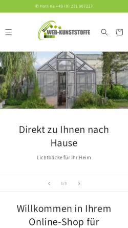 Vorschau der mobilen Webseite www.webkunststoffe.de, Web Kunststoffe GmbH