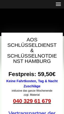 Vorschau der mobilen Webseite www.aos-schluesselnotdienst-hamburg.de, AOS Schlüsseldienst & Schlüsselnotdienst Hamburg