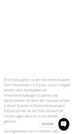 Vorschau der mobilen Webseite www.big-event.eu, B.I.G Events GmbH