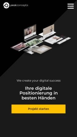 Vorschau der mobilen Webseite www.peakconcepts.de, Peakconcepts GmbH