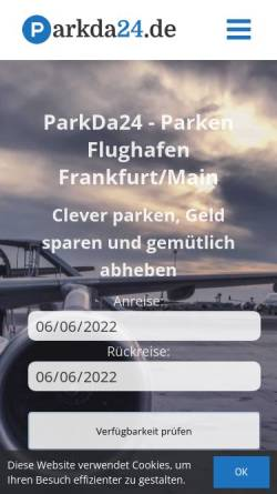 Vorschau der mobilen Webseite www.parkda24.de, Parkda 24