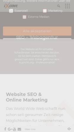 Vorschau der mobilen Webseite ixone.de, ixOne