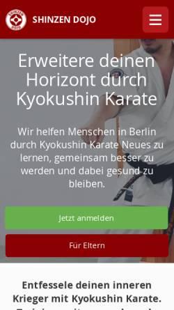 Vorschau der mobilen Webseite www.shinzen-dojo.de, Shinzen Dojo