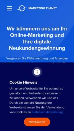Vorschau der mobilen Webseite marketing-planet.de, Marketing Planet UG (haftungsbeschränkt)