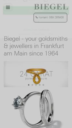 Vorschau der mobilen Webseite www.biegel.biz, Biegel Goldschmiede & Juweliere