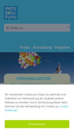 Vorschau der mobilen Webseite www.metabolic4you.ch, metabolic4you