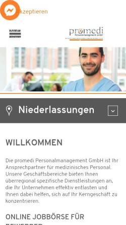 Vorschau der mobilen Webseite promedi-personal.de, promedi Personalmanagement GmbH