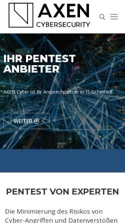 Vorschau der mobilen Webseite axen-cyber.com, AXEN Cyber Security Services