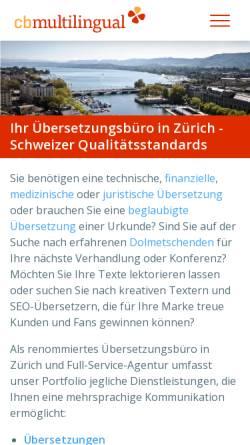 Vorschau der mobilen Webseite www.cb-m.ch, CB Multilingual GmbH