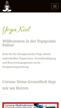 Vorschau der mobilen Webseite www.yoga-kiel.com, Yogapraxis Padna