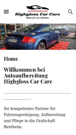 Vorschau der mobilen Webseite www.highgloss-carcare.eu, Highgloss car care