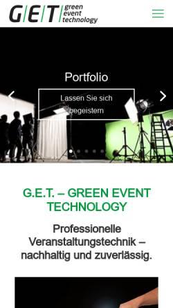 Vorschau der mobilen Webseite www.green-event.de, G.E.T. Green Event Technology Süd GmbH