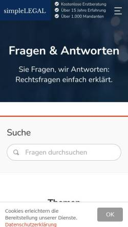 Vorschau der mobilen Webseite simplelegal.de, simpleLEGAL: Rechtsfragen einfach erklärt